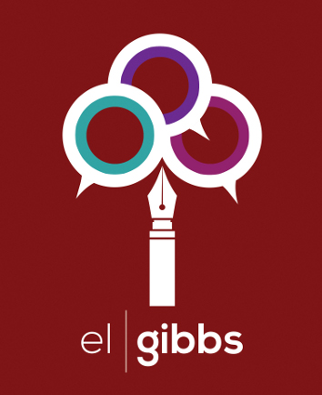 Pen with three speech bubbles coming out of the top. El Gibbs is written underneath